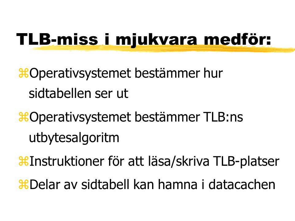 TLB-miss i mjukvara medför: zOperativsystemet bestämmer hur sidtabellen ser ut zOperativsystemet bestämmer TLB:ns utbytesalgoritm zInstruktioner för att läsa/skriva TLB-platser zDelar av sidtabell kan hamna i datacachen