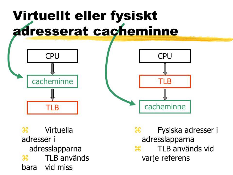Virtuellt eller fysiskt adresserat cacheminne CPU TLB cacheminne CPU TLB cacheminne z Virtuella adresser i adresslapparna z TLB används bara vid miss z Fysiska adresser i adresslapparna z TLB används vid varje referens