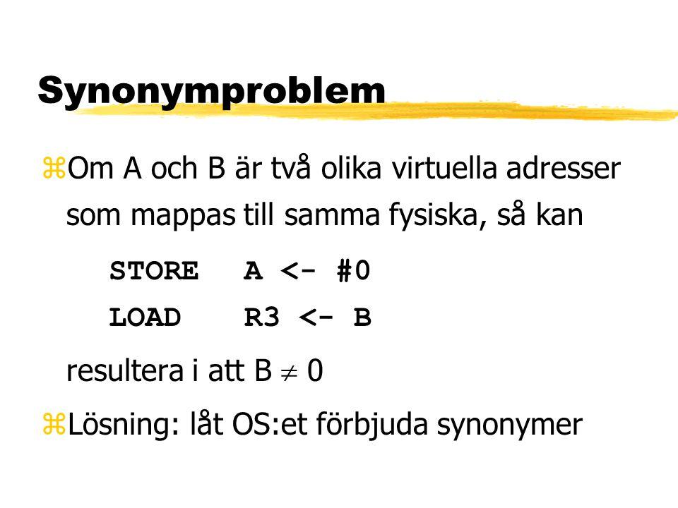 Synonymproblem zOm A och B är två olika virtuella adresser som mappas till samma fysiska, så kan STOREA <- #0 LOADR3 <- B resultera i att B  0 zLösning: låt OS:et förbjuda synonymer