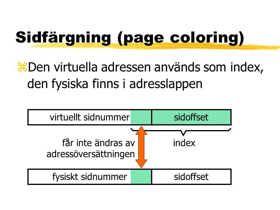 Sidfärgning (page coloring) zDen virtuella adressen används som index, den fysiska finns i adresslappen virtuellt sidnummersidoffset index fysiskt sidnummersidoffset får inte ändras av adressöversättningen