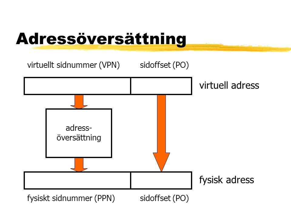 Täckning (coverage) zCoverage = sidstorlek x antal sidor i TLB zStörre täckning ger färre missar zÖkad sidstorlek ger ökad täckning zTvå sidstorlekar vanligt, exempelvis 4 kB och 4 MB zBildminne och OS kan ligga i stora sidor