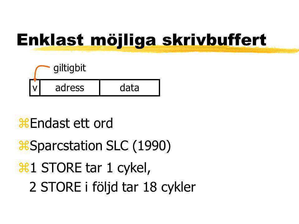 Enklast möjliga skrivbuffert zEndast ett ord zSparcstation SLC (1990) z1 STORE tar 1 cykel, 2 STORE i följd tar 18 cykler adressdata giltigbit v