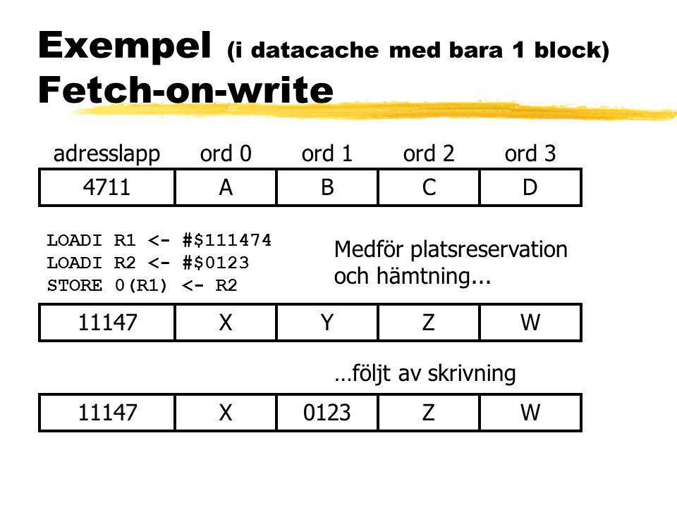 Exempel (i datacache med bara 1 block) Fetch-on-write 4711ABCD adresslappord 0ord 1ord 2ord 3 LOADI R1 <- #$111474 LOADI R2 <- #$0123 STORE 0(R1) <- R2 Medför platsreservation och hämtning...