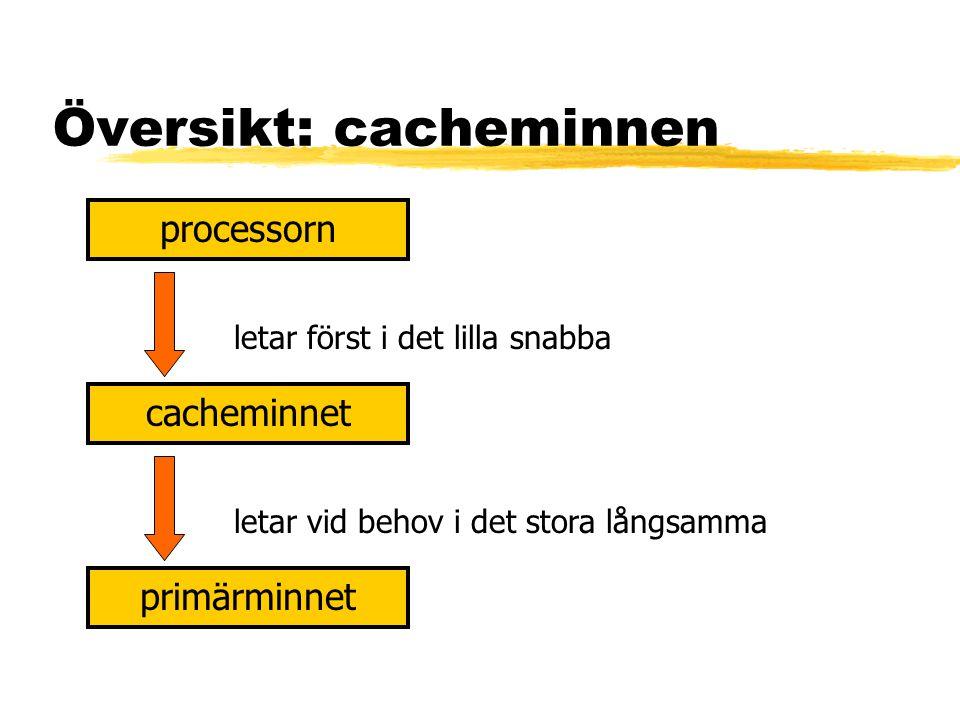 Översikt: cacheminnen processorn cacheminnet primärminnet letar först i det lilla snabba letar vid behov i det stora långsamma