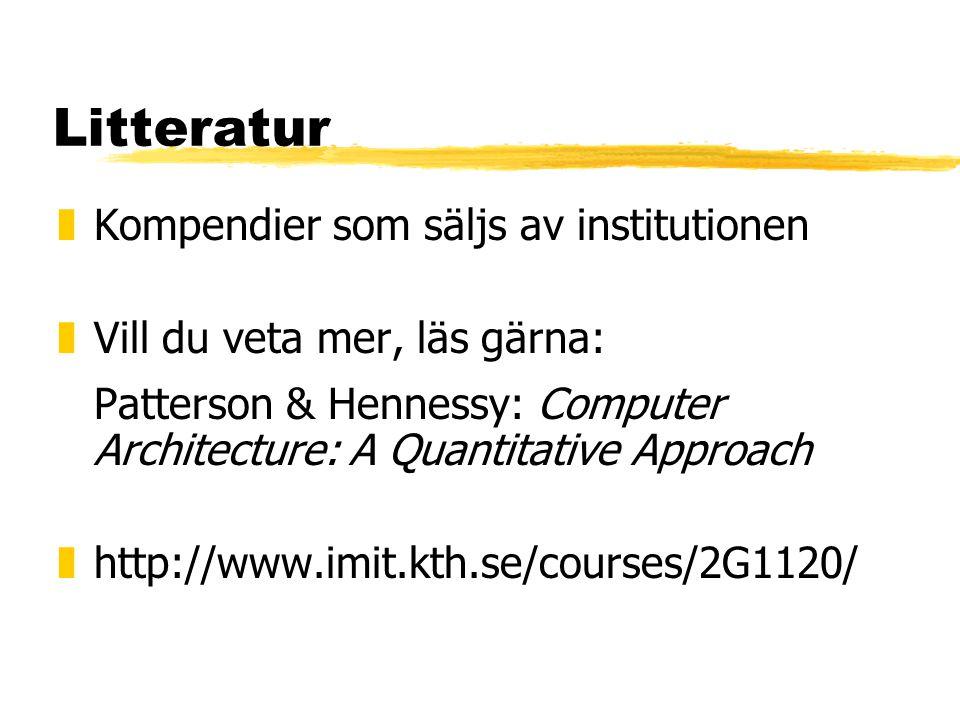Litteratur zKompendier som säljs av institutionen zVill du veta mer, läs gärna: Patterson & Hennessy: Computer Architecture: A Quantitative Approach zhttp://www.imit.kth.se/courses/2G1120/