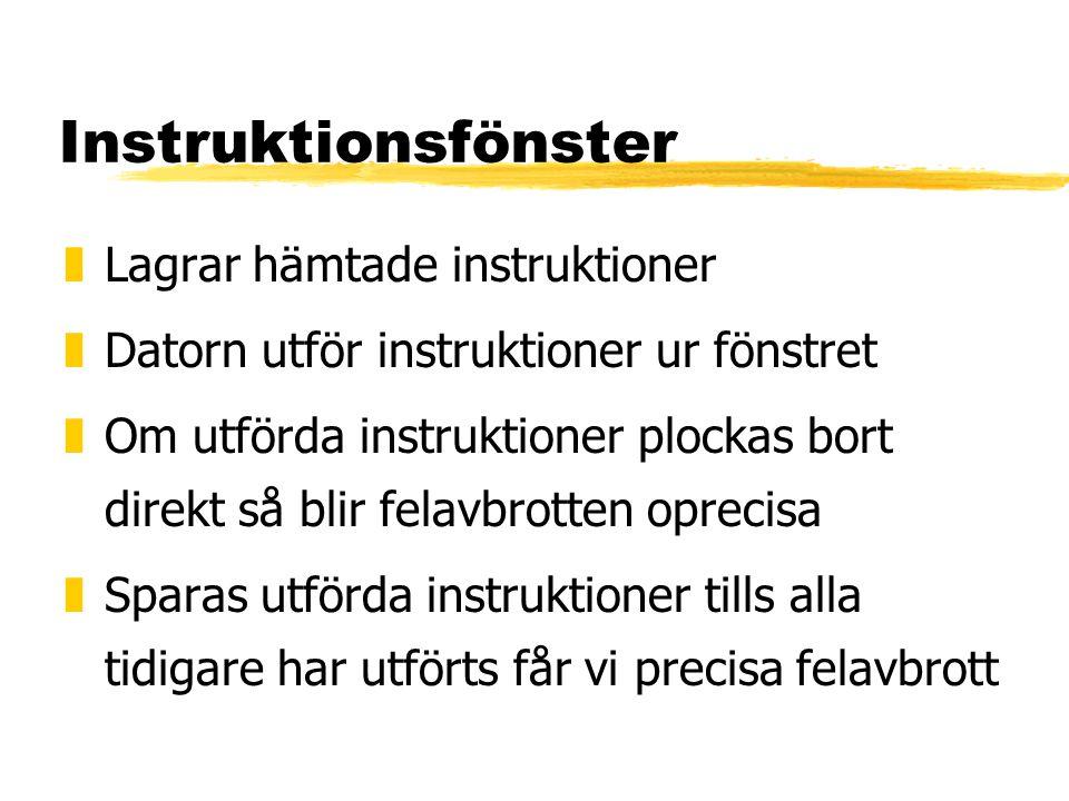Instruktionsfönster zLagrar hämtade instruktioner zDatorn utför instruktioner ur fönstret zOm utförda instruktioner plockas bort direkt så blir felavbrotten oprecisa zSparas utförda instruktioner tills alla tidigare har utförts får vi precisa felavbrott