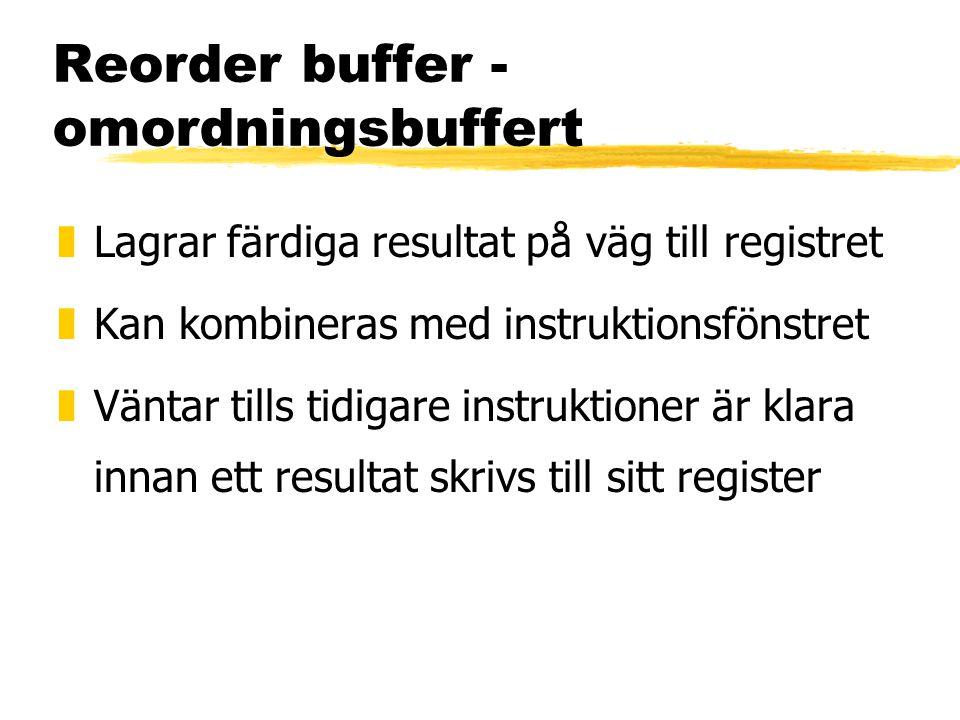 Reorder buffer - omordningsbuffert zLagrar färdiga resultat på väg till registret zKan kombineras med instruktionsfönstret zVäntar tills tidigare instruktioner är klara innan ett resultat skrivs till sitt register