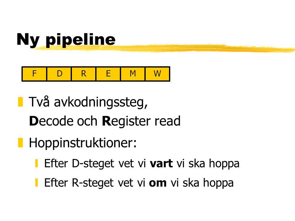 Ny pipeline zTvå avkodningssteg, Decode och Register read zHoppinstruktioner: yEfter D-steget vet vi vart vi ska hoppa yEfter R-steget vet vi om vi ska hoppa FDREMW