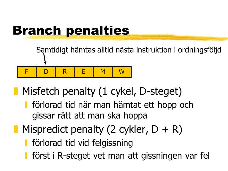 Branch penalties zMisfetch penalty (1 cykel, D-steget) yförlorad tid när man hämtat ett hopp och gissar rätt att man ska hoppa zMispredict penalty (2 cykler, D + R) yförlorad tid vid felgissning yförst i R-steget vet man att gissningen var fel FDREMW Samtidigt hämtas alltid nästa instruktion i ordningsföljd