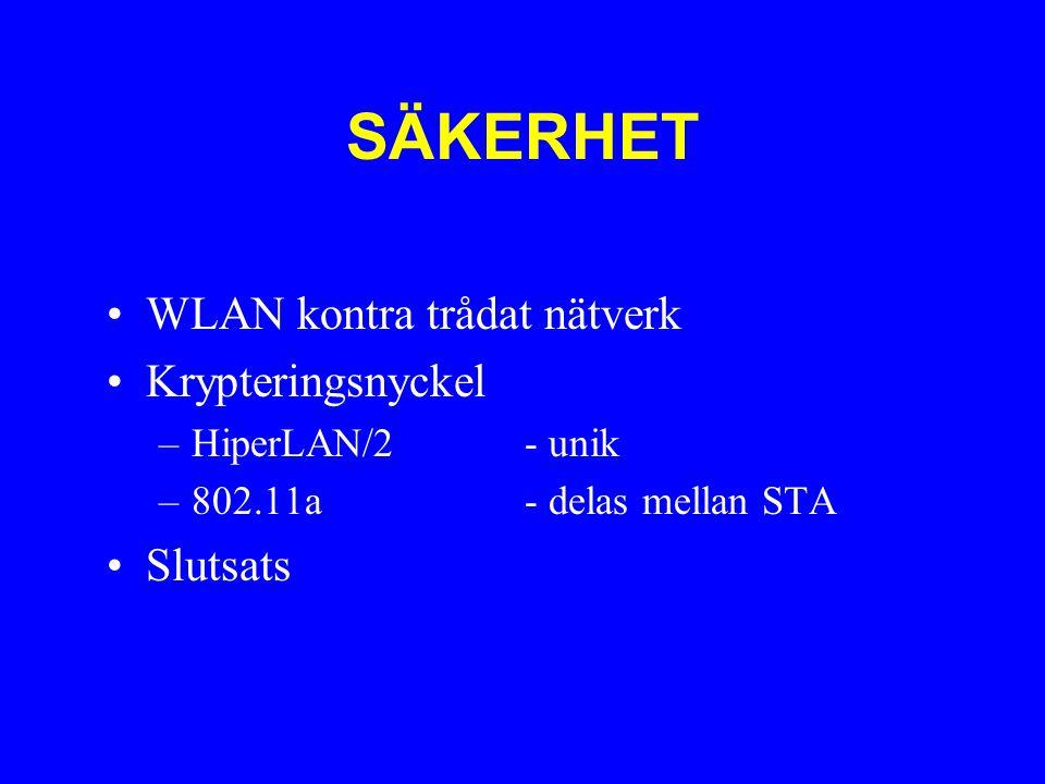 SÄKERHET WLAN kontra trådat nätverk Krypteringsnyckel –HiperLAN/2 - unik –802.11a- delas mellan STA Slutsats