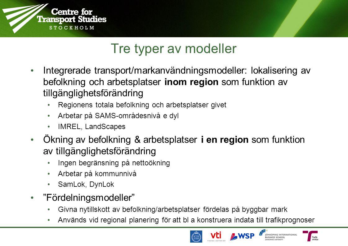 Tre typer av modeller Integrerade transport/markanvändningsmodeller: lokalisering av befolkning och arbetsplatser inom region som funktion av tillgäng
