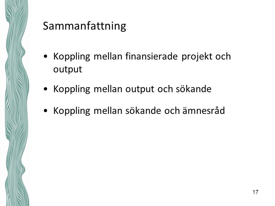 Sammanfattning Koppling mellan finansierade projekt och output Koppling mellan output och sökande Koppling mellan sökande och ämnesråd 17