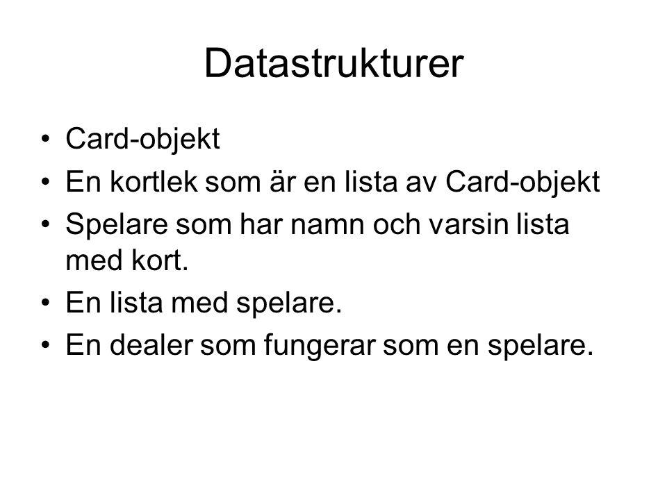 Datastrukturer Card-objekt En kortlek som är en lista av Card-objekt Spelare som har namn och varsin lista med kort.