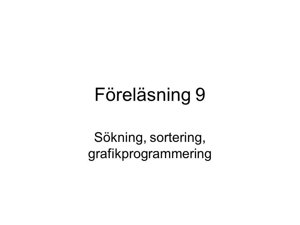 Föreläsning 9 Sökning, sortering, grafikprogrammering