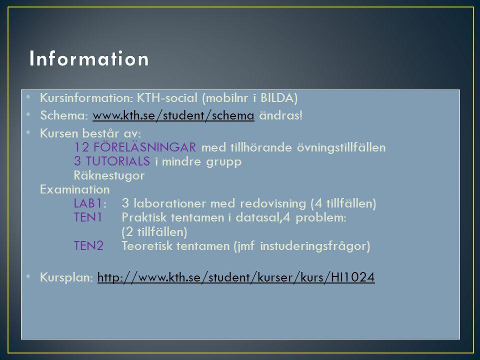 Kursinformation: KTH-social (mobilnr i BILDA) Schema: www.kth.se/student/schema ändras!www.kth.se/student/schema Kursen består av: 12 FÖRELÄSNINGAR me