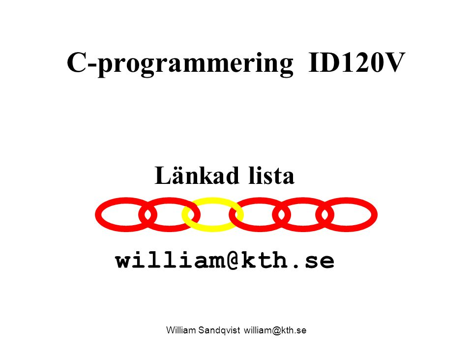 C-programmering ID120V William Sandqvist william@kth.se Länkad lista william@kth.se
