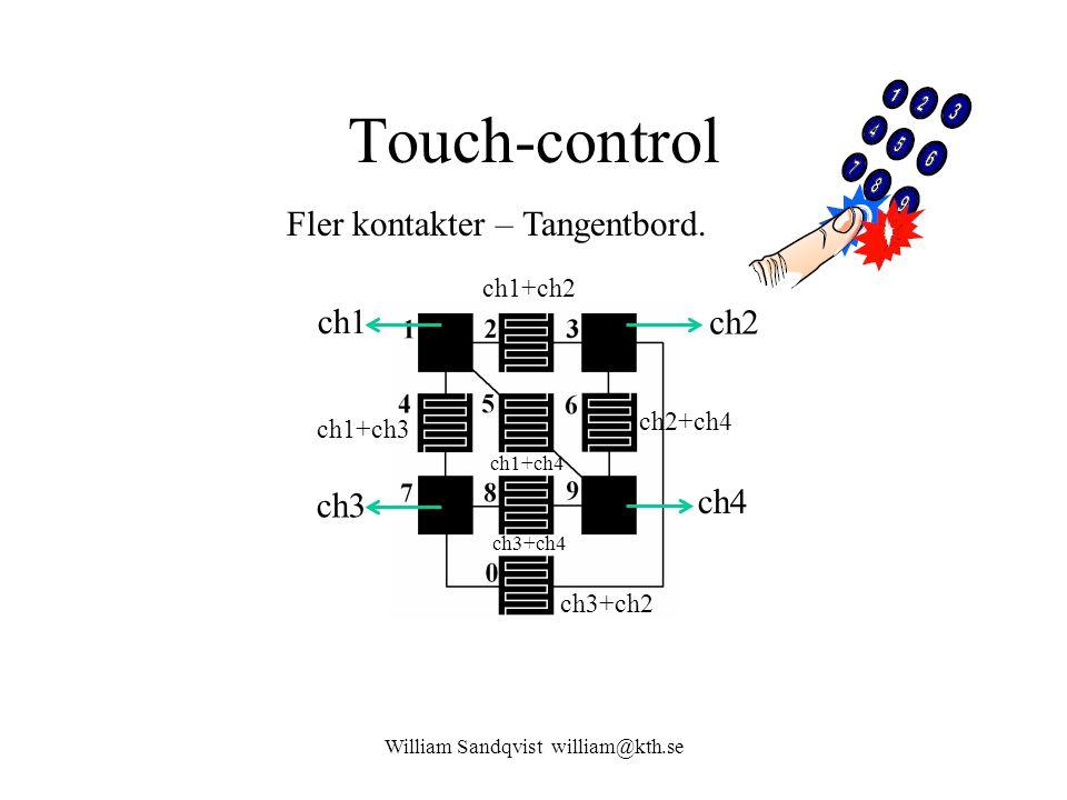 Touch-control William Sandqvist william@kth.se Fler kontakter – Tangentbord. ch1 ch2 ch3 ch4 ch1+ch2 ch2+ch4 ch3+ch2 ch1+ch3 ch3+ch4 ch1+ch4