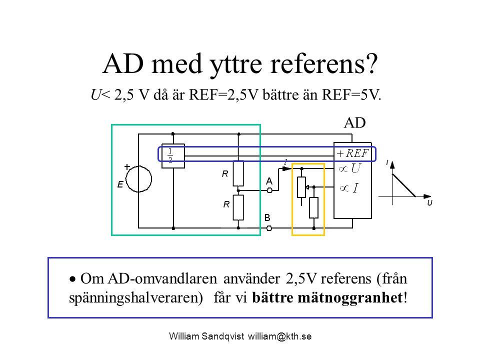 AD med yttre referens?  Om AD-omvandlaren använder 2,5V referens (från spänningshalveraren) får vi bättre mätnoggranhet! William Sandqvist william@kt