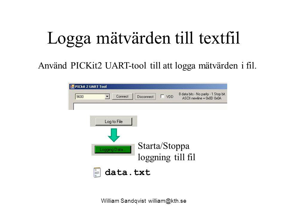 Logga mätvärden till textfil William Sandqvist william@kth.se Starta/Stoppa loggning till fil data.txt Använd PICKit2 UART-tool till att logga mätvärd