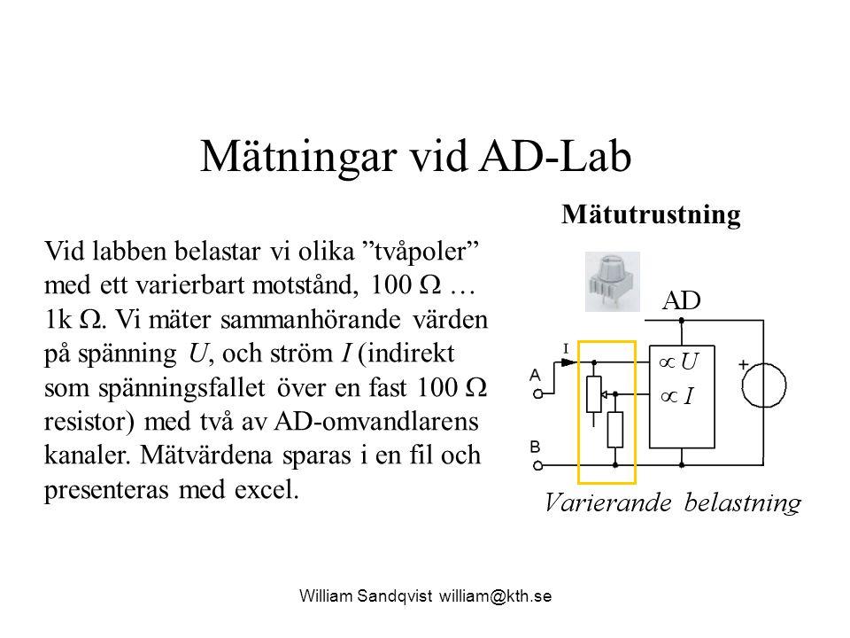 """Mätningar vid AD-Lab Vid labben belastar vi olika """"tvåpoler"""" med ett varierbart motstånd, 100  … 1k . Vi mäter sammanhörande värden på spänning U, o"""