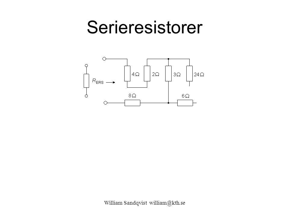 William Sandqvist william@kth.se Ersättningsresistans (1.1) R TOT = 1//(0,5+0,5) +1//(0,5+0,5) =1//1+1//1=0,5+0,5=1