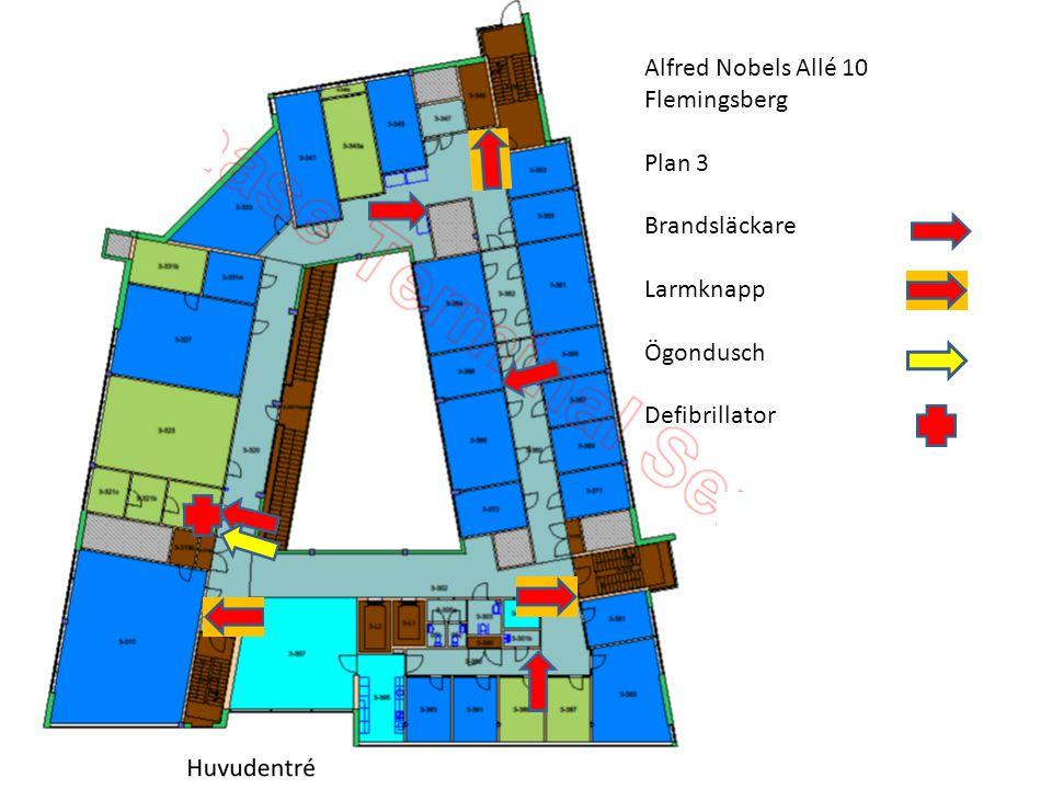 Alfred Nobels Allé 10 Flemingsberg Plan 3 Brandsläckare Larmknapp Ögondusch Defibrillator T.Ryman 2014.01.21