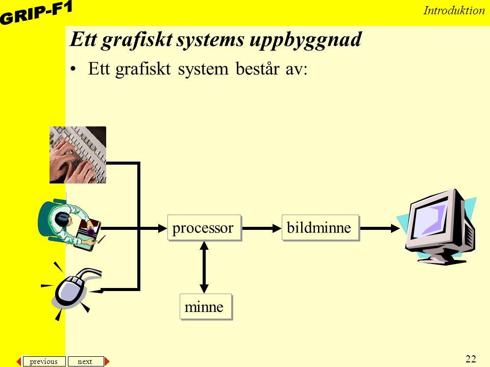 previous next 22 Introduktion Ett grafiskt systems uppbyggnad Ett grafiskt system består av: processor minne bildminne