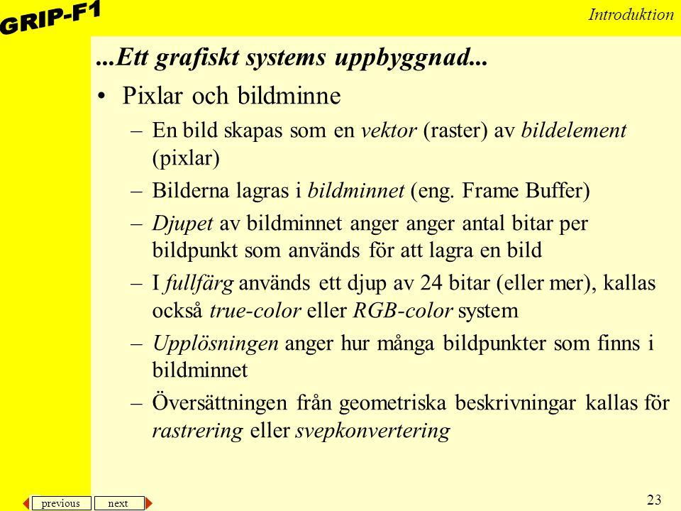previous next 24 Introduktion Utmatningsenheter –Katodstrålerör Består av –Elektronstråle som böjs av i olika riktningar innan den träffar skärmen –Metallmask med små hål, som ser till att strålen endast aktiverar fosforpunkter med rätt färg på skärmen –Fosforlager Typiskt ordnade i grupper om tre färger (en av varje av dem primära färgerna) Bildrepetitionsfrekvens (refresh rate) –Hur ofta skärmen uppdateras –Typisk 50-80 ggr per sekund...Ett grafiskt systems uppbyggnad...