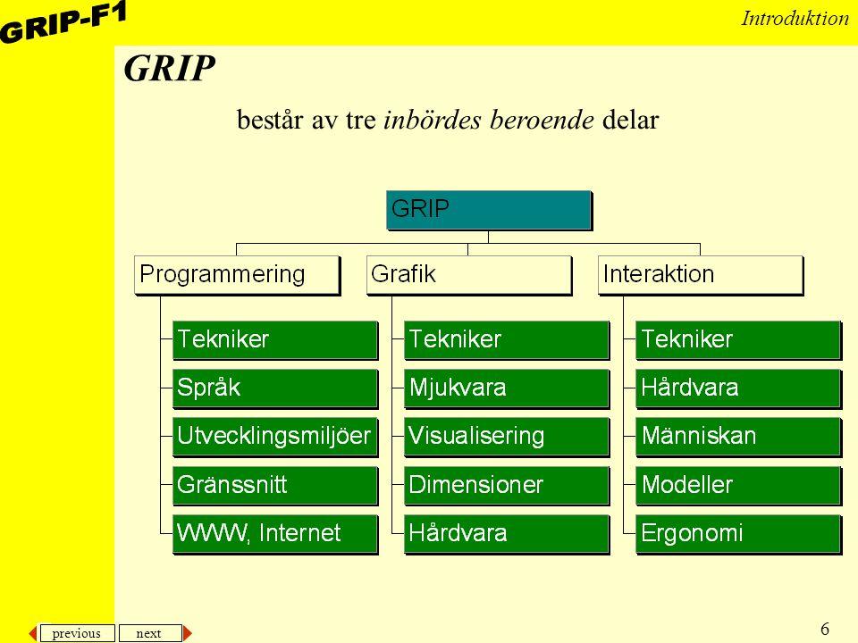 previous next 6 Introduktion GRIP består av tre inbördes beroende delar