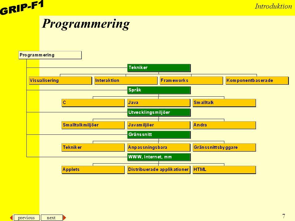 previous next 7 Introduktion Programmering