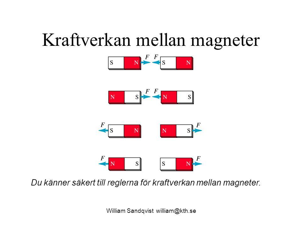 William Sandqvist william@kth.se En magnet delas i tre bitar Om en magnet kapas i mindre delar, blir varje del en komplett magnet med egen Nordpol och Sydpol.
