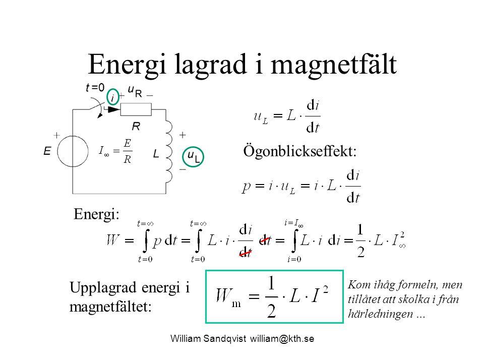 Energi lagrad i magnetfält Ögonblickseffekt: Energi: Upplagrad energi i magnetfältet: Kom ihåg formeln, men tillåtet att skolka i från härledningen …