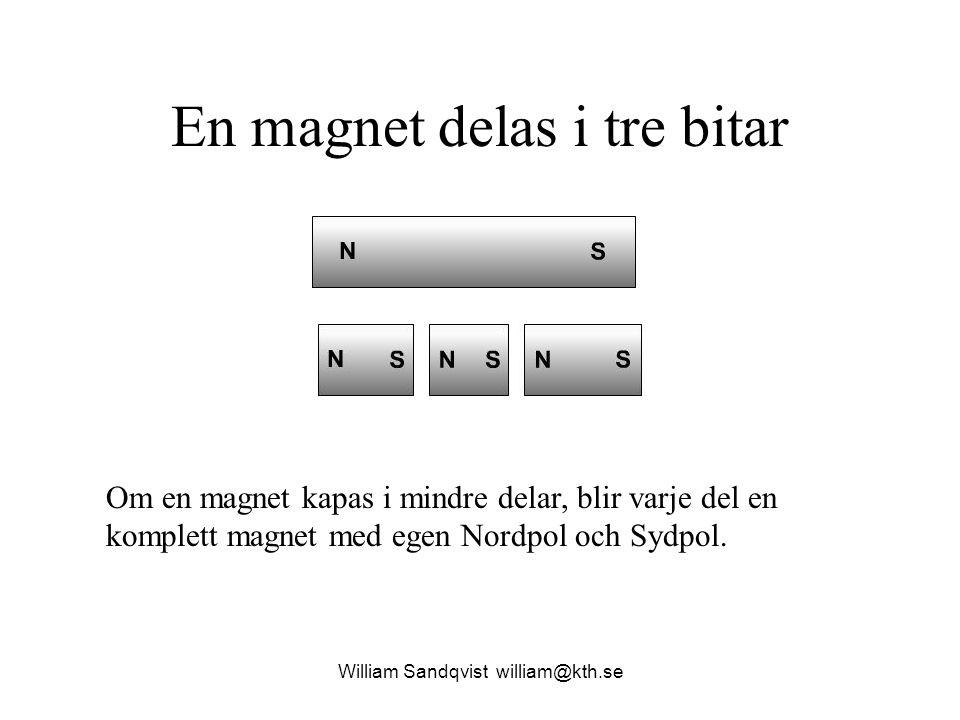 William Sandqvist william@kth.se En magnet delas i tre bitar Om en magnet kapas i mindre delar, blir varje del en komplett magnet med egen Nordpol och