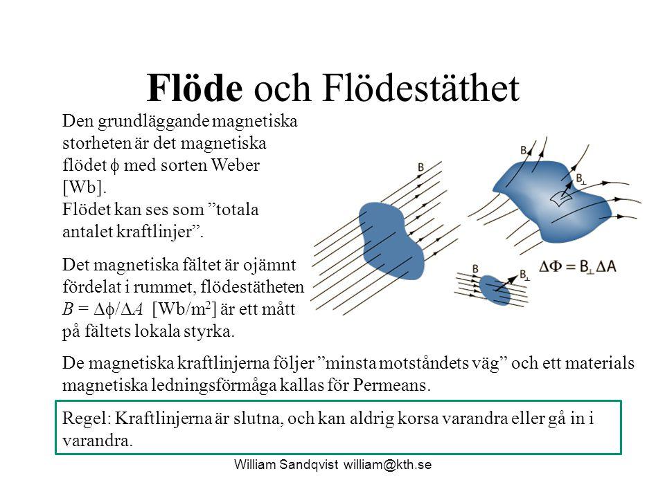 William Sandqvist william@kth.se Flöde och Flödestäthet Den grundläggande magnetiska storheten är det magnetiska flödet  med sorten Weber [Wb]. Flöde