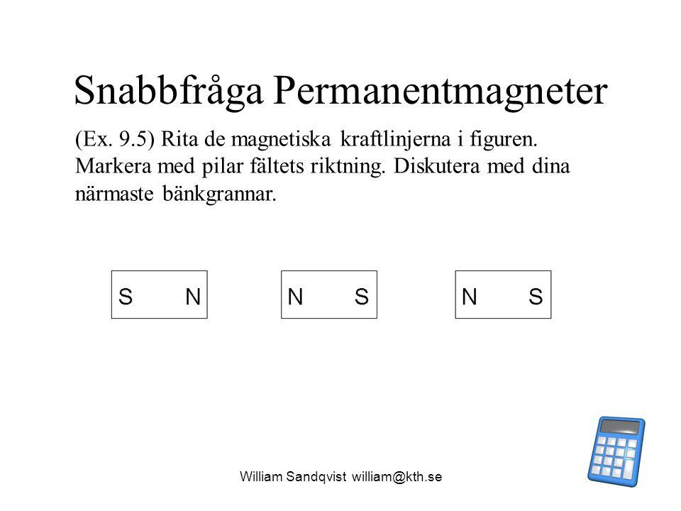 William Sandqvist william@kth.se Snabbfråga Permanentmagneter (Ex. 9.5) Rita de magnetiska kraftlinjerna i figuren. Markera med pilar fältets riktning