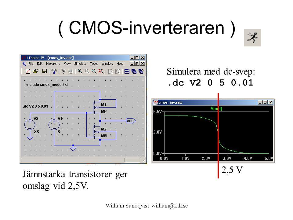 ( CMOS-inverteraren ) Simulera med dc-svep:.dc V2 0 5 0.01 2,5 V Jämnstarka transistorer ger omslag vid 2,5V. William Sandqvist william@kth.se