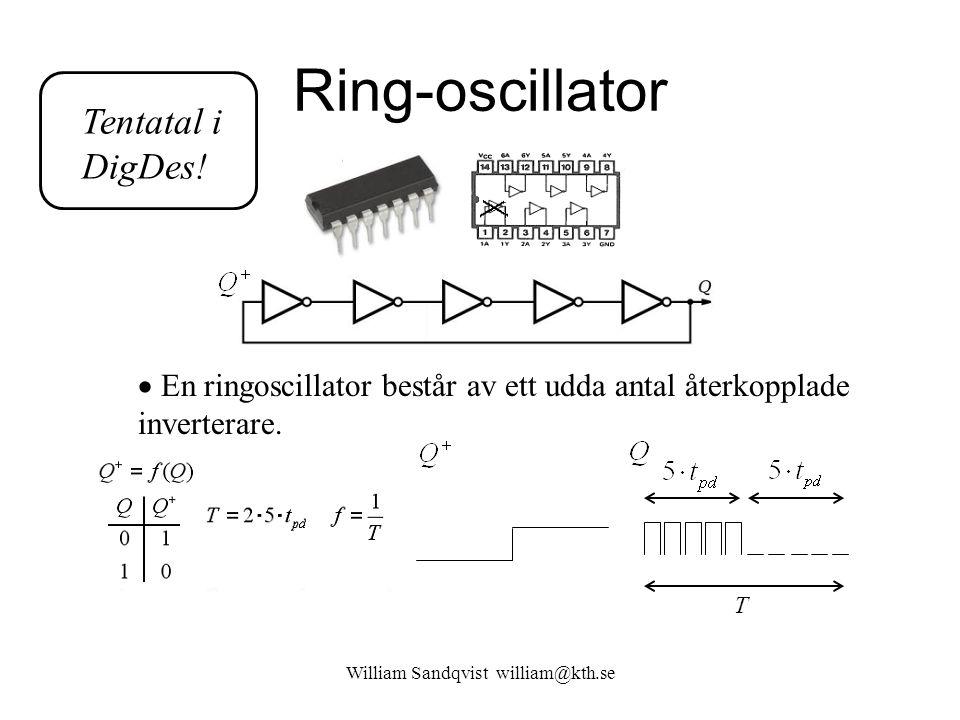 Ring-oscillator William Sandqvist william@kth.se  En ringoscillator består av ett udda antal återkopplade inverterare. T Tentatal i DigDes!