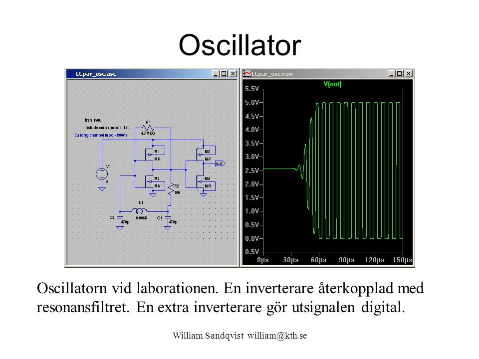 Oscillator William Sandqvist william@kth.se Oscillatorn vid laborationen. En inverterare återkopplad med resonansfiltret. En extra inverterare gör uts