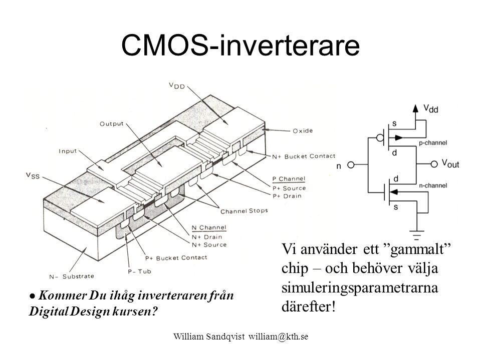 """CMOS-inverterare Vi använder ett """"gammalt"""" chip – och behöver välja simuleringsparametrarna därefter!  Kommer Du ihåg inverteraren från Digital Desig"""
