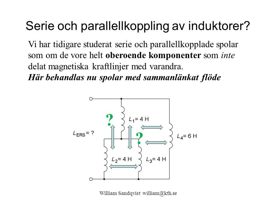 Induktiv koppling William Sandqvist william@kth.se En del av flödet i spole 1 är sammanlänkat med flöde från spole 2.