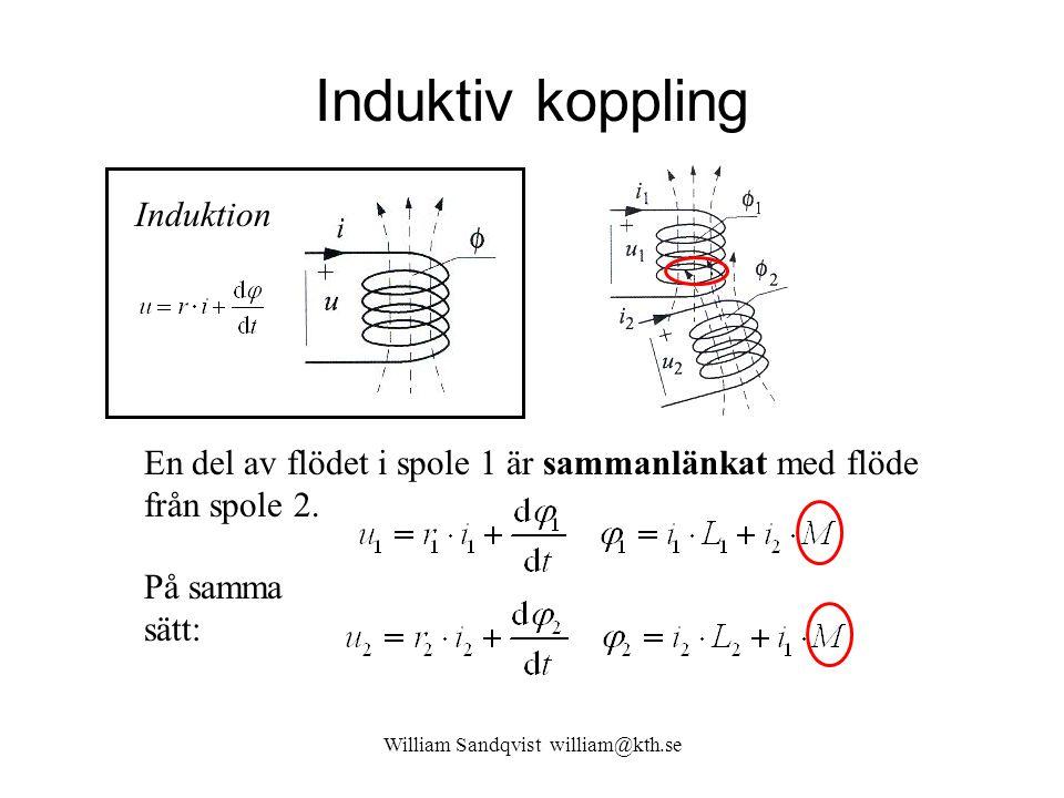 Induktiv koppling William Sandqvist william@kth.se j  -metoden:  M kallas för ömsinduktansen Kopplingsfaktorn: Kopplingsfaktorn anger hur stor del av flödet en spole har gemensamt med en annan spole En ideal transformator har kopplingsfaktorn k = 1 (100%)