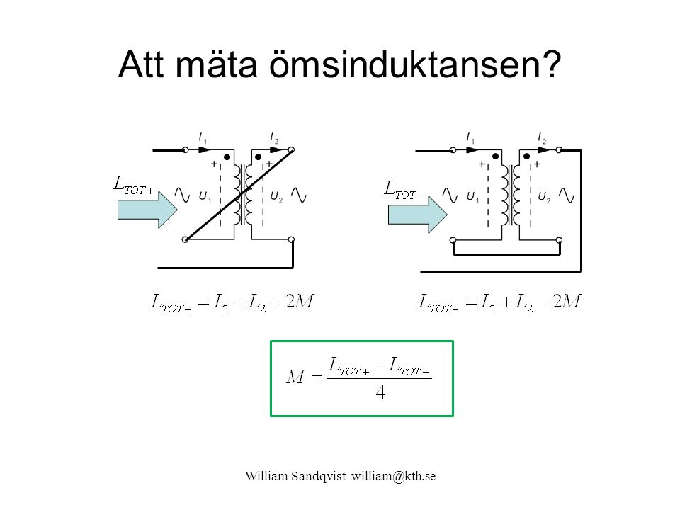 Att mäta ömsinduktansen? William Sandqvist william@kth.se