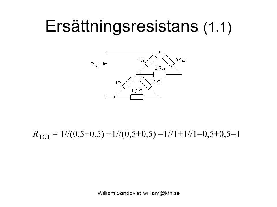 Ersättningsresistans (1.1) R TOT = 1//(0,5+0,5) +1//(0,5+0,5) =1//1+1//1=0,5+0,5=1