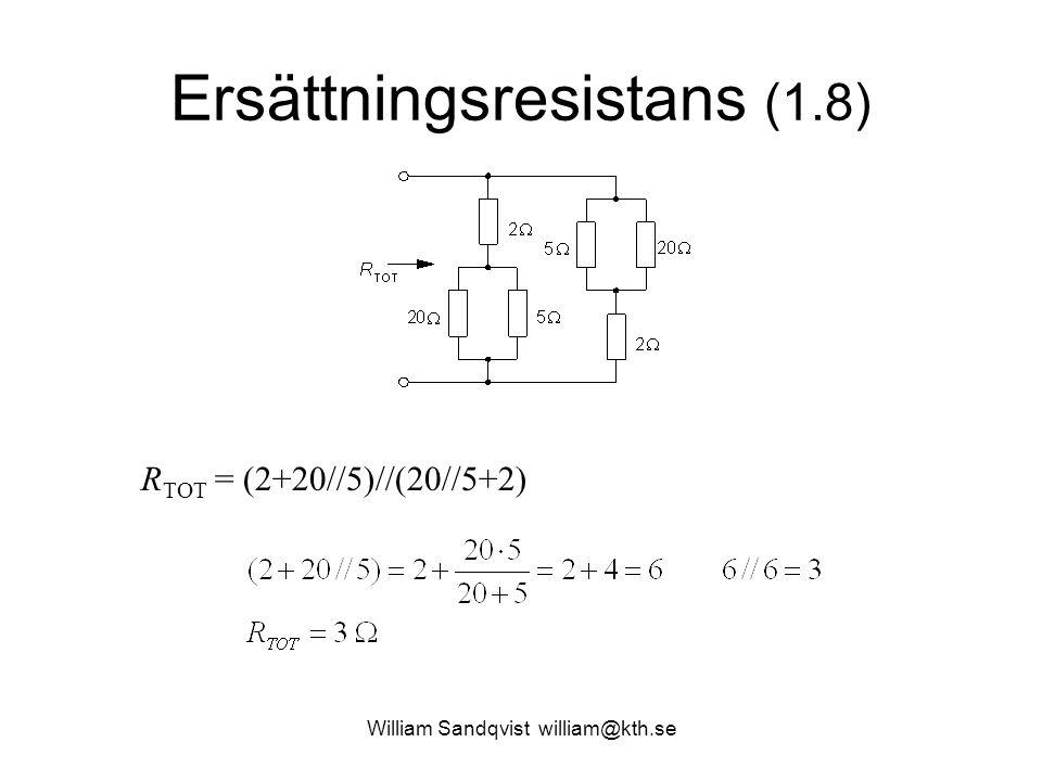 Ersättningsresistans (1.8) R TOT = (2+20//5)//(20//5+2)