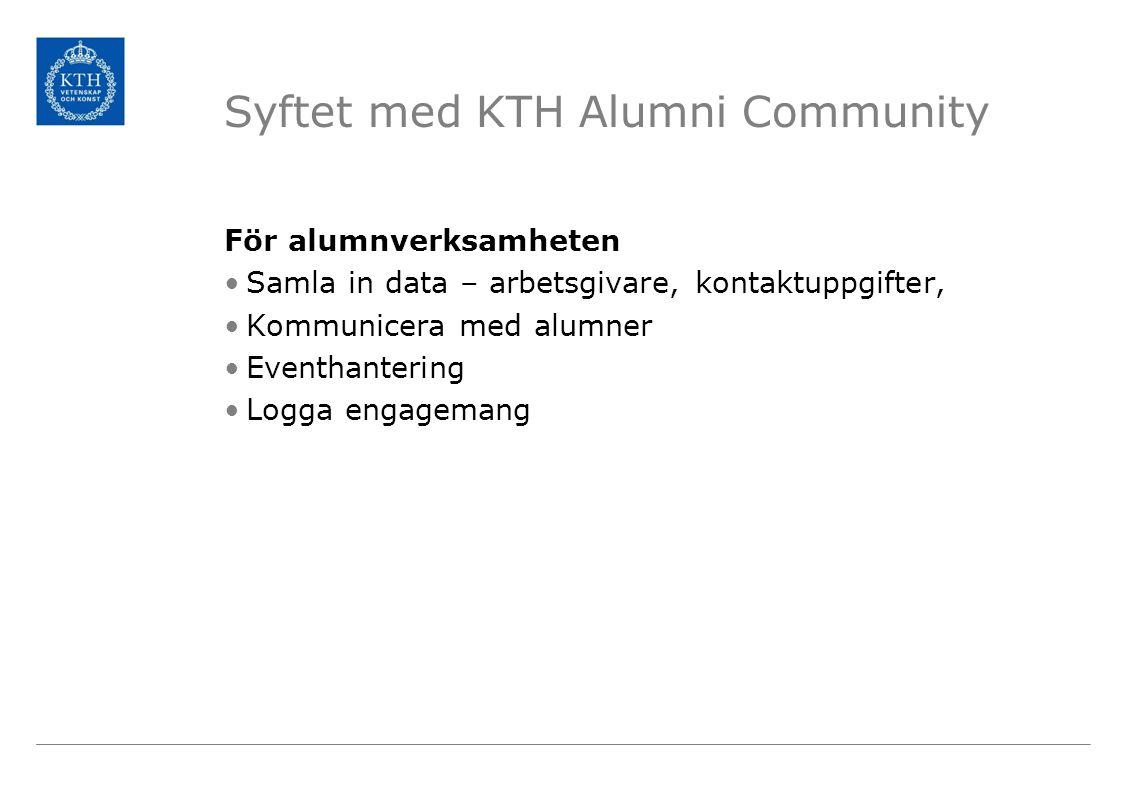 Syftet med KTH Alumni Community För alumnverksamheten Samla in data – arbetsgivare, kontaktuppgifter, Kommunicera med alumner Eventhantering Logga engagemang