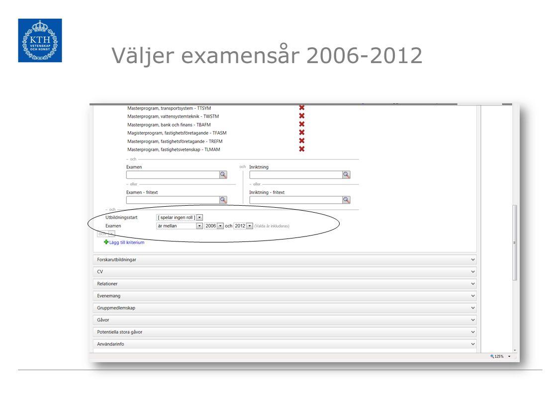 Väljer examensår 2006-2012