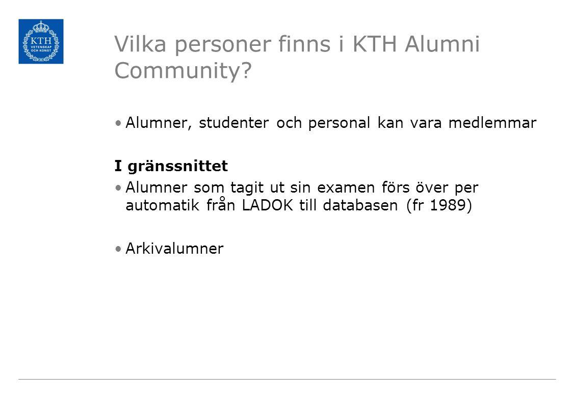 Kanaler Nyhetsbrevet Alumninytt 1 gång/mån (går att segmentera) KTH Alumni Community Kth.se/alumni Magasinet KTH & Co Facebook LinkedIn KTH Socialgrupp Alumnrelationer på KTH