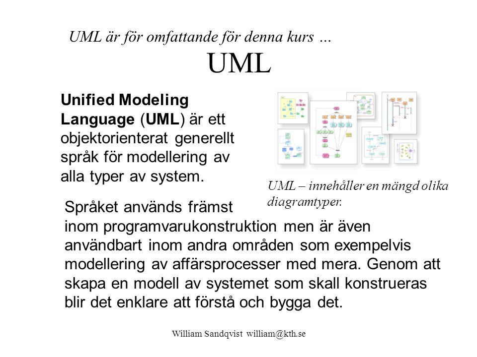 UML Unified Modeling Language (UML) är ett objektorienterat generellt språk för modellering av alla typer av system.