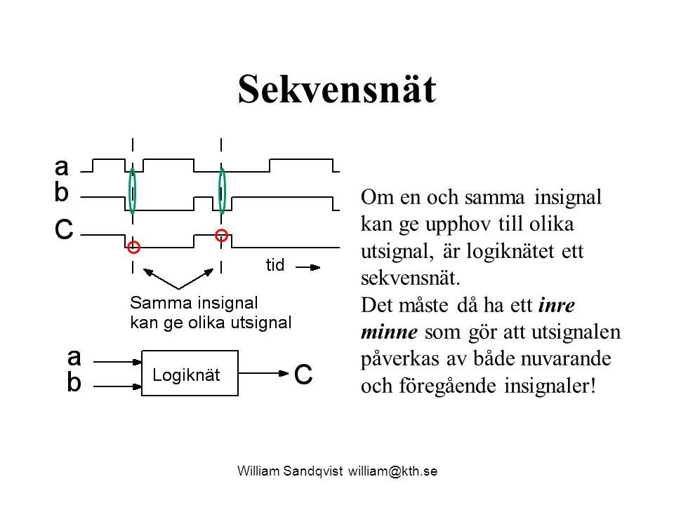 Sekvensnät William Sandqvist william@kth.se Om en och samma insignal kan ge upphov till olika utsignal, är logiknätet ett sekvensnät.