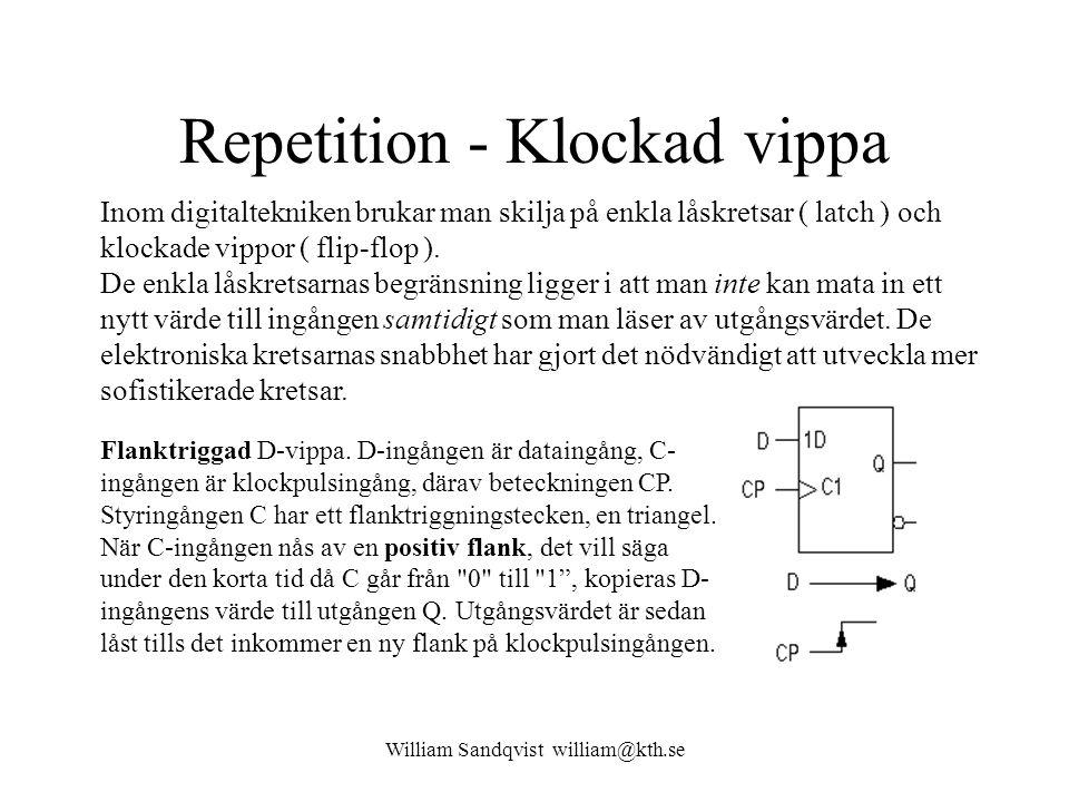 William Sandqvist william@kth.se Repetition - Klockad vippa Inom digitaltekniken brukar man skilja på enkla låskretsar ( latch ) och klockade vippor ( flip-flop ).